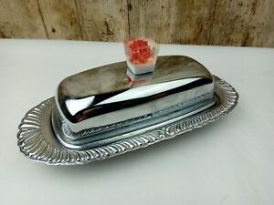 Vintage 50s Mid Century Chrome & Glass Butter Dish with Lid 3 Piece Set