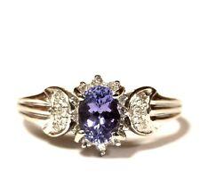 14k white gold .17ct SI1 H diamond tanzanite womens ladies ring 2.9g estate