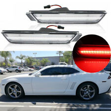 2X Rear Red Clear Lens LED Fender Side Marker Lamp Lights For 10-15 Chevy Camaro