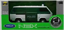 VW VOLKSWAGEN T3 VAN POLICE 1:34-1:39 WELLY METAL CAR NIB POLIZEI