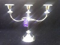 SILVER PLATED 3 SCONCE CANDELABRA CANDLESTICK HOLDER BEADED ROPE DETAIL ENGLAND