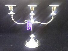 SILVER PLATED 3 SCONCE CANDELABRA CANDLESTICK HOLDERBEADED ROPE DETAIL ENGLAND
