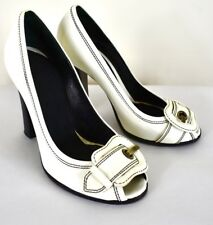Fendi Size 7 Shoes (white patent with black stitching)