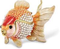 Bejeweled Simulated Pearls Goldfish Trinket Box