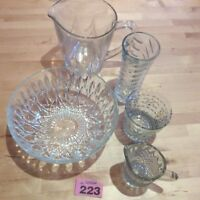 VINTAGE PRESSED GLASS JOB LOT BOWL, LARGE JUG, FOOTED MILK JUG, GLASS, VASE