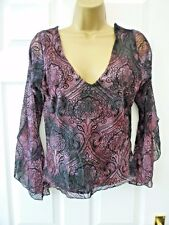 NEW LOOK Ladies Size 12 - 14 Burgundy Black Floaty Cuff Gothic Wiccan Tunic Top