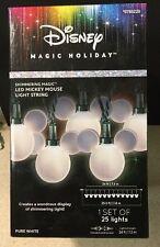 Disney Mickey Mouse Ears LED 25 White Christmas String Lights Shimmering 24' NEW