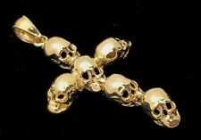 New 14K Solid Yellow Gold High Polished Cross Skull Charm Pendant 4.8 grams