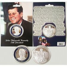 JOHN F KENNEDY 35TH PRESIDENT SILVER AND BLUE IN COLOR COIN 13435