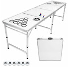 8 Ft Folding Portable Beer Pong Table Tailgate Party DrinkingDry Erase Surface