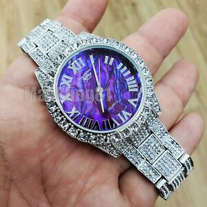 HIP HOP ICED BUST DOWN PURPLE MARBLE DIAL METAL BAND FASHION WRIST BLING WATCH