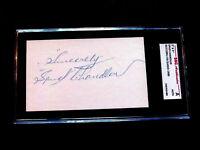 SPUD CHANDLER 1943 MVP YANKEES PITCHER SIGNED AUTO VINTAGE INDEX SGC AUTHENTIC