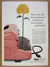 1956 Royal Electric Typewriter pink typewriter & chrysanthemum vintage print Ad