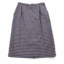 Vintage Pendleton Petite Navy & Pink Houndstooth 100% Wool Pencil Skirt Size 10