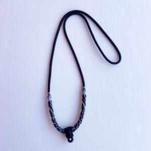 "26"" Necklace Nylon & Wax Rope Gray Black Thai Handmade  Buddhist Amulet Pendant"