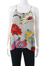 Tucker Women's Floral Camisole Top Silk Gray Red Blue Size Petite