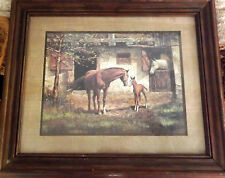 Framed Under Glass Unsigned Print of Mother Horse & Colt and a 2rd Horse in Barn
