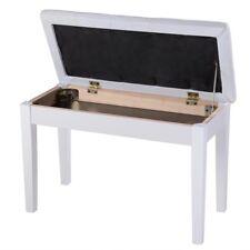 Piano Bench Stool Pu Leather Padded Keyboard Organ Duet Seat Storage White