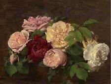 HENRI FANTIN LATOUR FRENCH ROSES NICE TABLE OLD ART PAINTING POSTER BB5612B