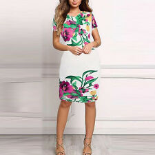 Women's Sexy Casual Beach Floral Evening Cocktail Dreses Short Sleeve Mini Dress