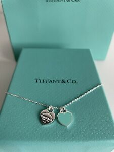 Genuine Return to Tiffany Blue Double Heart Tag Pendant Silver Necklace