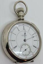 Antique Working 1893 ILLINOIS Victorian Gents 15J Silver Railroad Pocket Watch