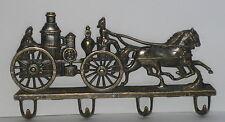 alte Feuerwehr Garderobe Schlüsselhaken, Messing, im Nostalgie Stil, 22x12x2cm