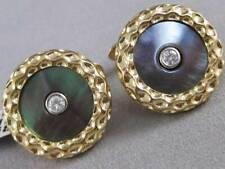 MODERN DIAMOND BLACK MOTHER OF PEARL 14K Y GOLD ROUND BUTTON CUFFLINKS U35056YP9