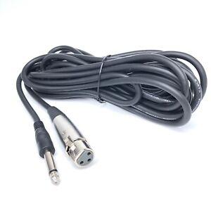XLR Female Plug to Mono 6.35mm Jack OFC Audio / Mic Cable Black 6m Lead Cord