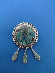 VINTAGE NATIVE AMERICAN STERLING SILVER & TURQUOISE PENDANT / BROOCH 7.8 g