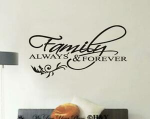 """Family Always Forever"" Removable Wall Stickers Quote Wall Decal Art Mural Decor"