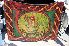 36-16 Victorian horse drawn Chase lap robe wool backed horse rider & dogs