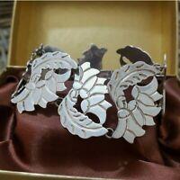 Modernist Vintage Sterling Silver Bracelet,  Wide Abstract Links 7.5 Inch, Heavy