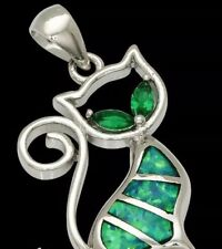 Stunning Green Fire Lab Opal Silver Kitty Pendant &Chain Animal pussy CAT Lovers