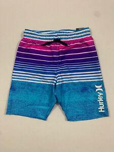 "Hurley NWT Swim Suit Size 7/8 Trunks Board Shorts Inseam 7.5"" Stripe Blue Pink"
