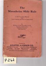 K&E Mannheim Slide Rule sliderule Self Teaching Manual good cond (P262)