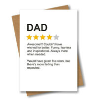 Funny Fathers Day Card for Dad - Product Star Rating Review - Farting Fart