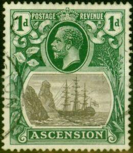 Ascension 1924 1d Grey-Black & Deep Blue Green SG11 Fine Used