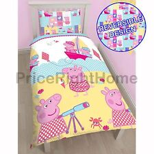 PEPPA PIG NAUTICAL SINGLE ROTARY DUVET COVER SET YELLOW KIDS BEDDING