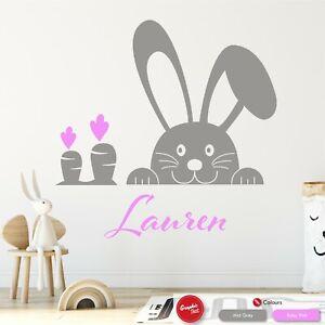 Girls Personalised Bunny Rabbit Wall Art Sticker Babys Nursery Bedroom Decal