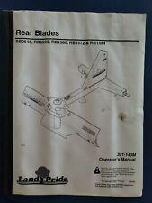 Land Pride Operators Manual Rear Blades Rb0548rb0560rb1560rb1572rb1584 B