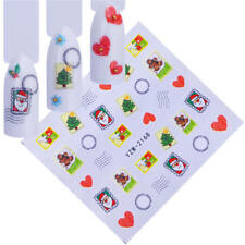 Nail Art Water Decals Stickers Christmas Santa Postal Stamps Hearts (A168)