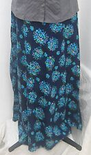 Handmade vintage seventies blue A-line floral maxi skirt size 8