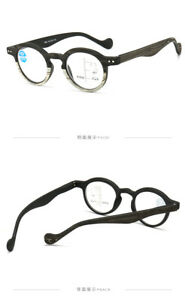 Retro Round Wood Grain Anti blue light Progressive Multi-focal reading glasses