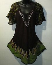Top Fit XL 1X 2X 3X Plus Tunic Brown Green Gold Batik A Shaped Lace Tie NWT G786