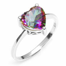 2.6ct Genuine MysticTopaz Heart Sterling Silver Ring Size 9 Luxury Special Hot