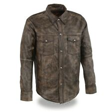 1606.09 Distressed Brown Leather Shirt
