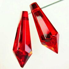 SH3028 2Pcs Faceted Red Titanium Crystal Pendulum Pendant Bead 36x12mm