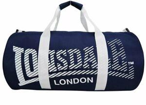 Lonsdale London Holdall Barrel Bag Kitbag Gym Fitness Carryall Blue / White