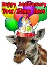 Giraffe Happy Anniversary Party Hat Card codegi Personalised Greetings Cards